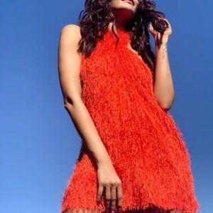 Zara Fringe Halter Orange Mini Party Dress
